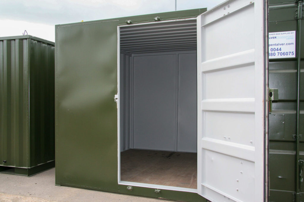 Green open 10ft container