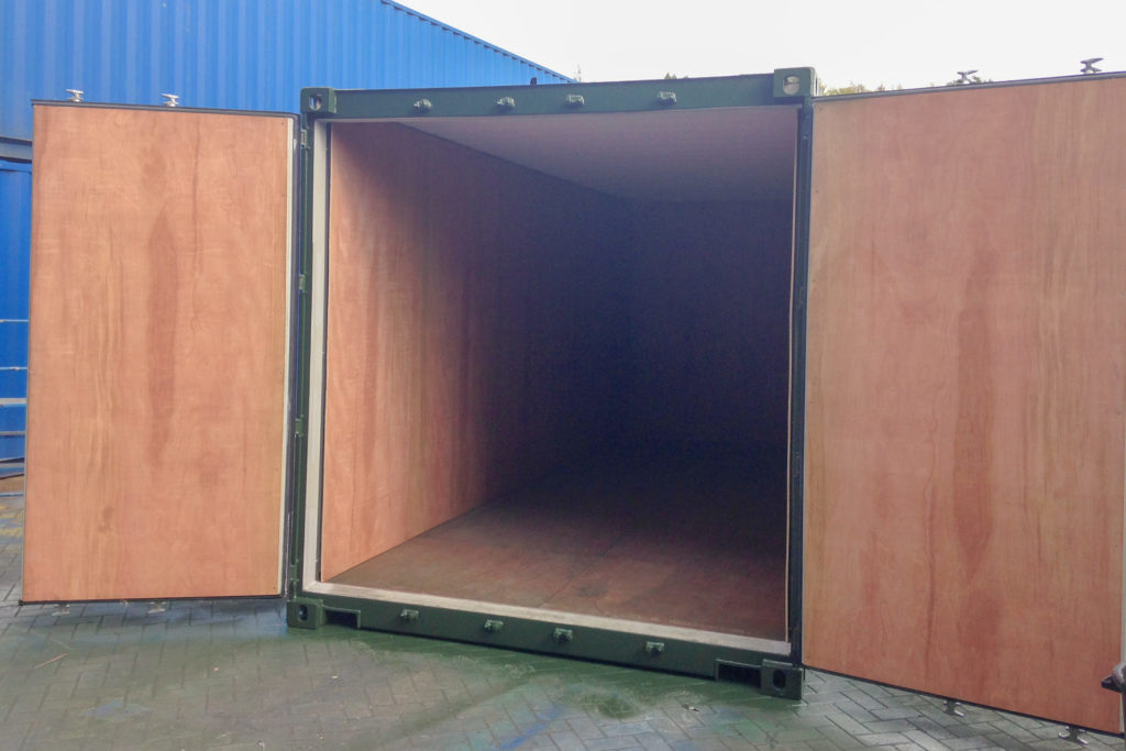 Green 20ft container Ply Lined